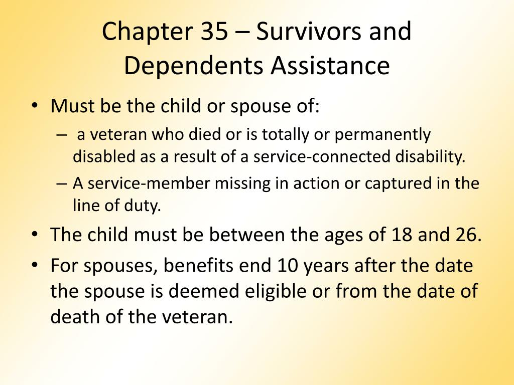 Chapter 35 – Survivors and Dependents Assistance