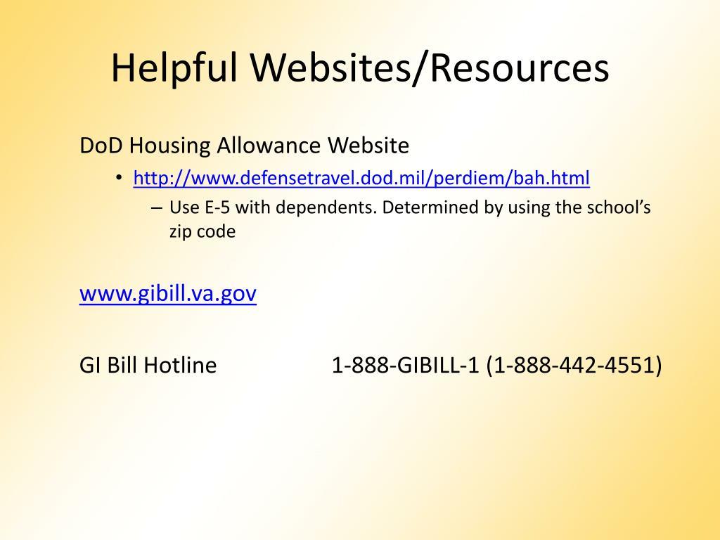 Helpful Websites/Resources