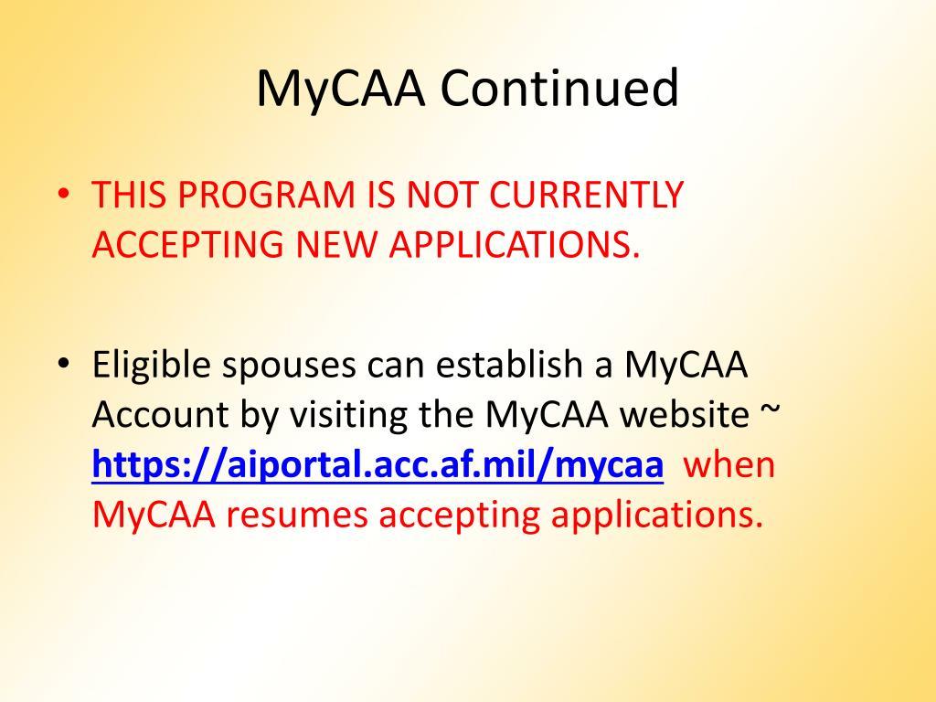 MyCAA Continued