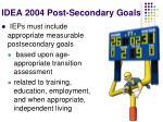 idea 2004 post secondary goals