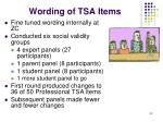wording of tsa items