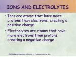 ions and electrolytes
