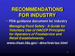 recommendations for industry43