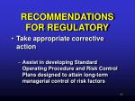 recommendations for regulatory48