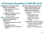 performance evaluation of ieee 802 15 4a