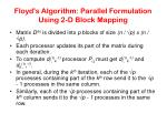 floyd s algorithm parallel formulation using 2 d block mapping