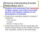 enduring understanding example world history unit 2