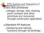 d 3 n syntax and semantics i