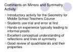 comments on mirrors and symmetry activity