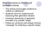 more comments on mirrors and symmetry activity