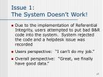 issue 1 the system doesn t work