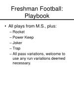 freshman football playbook