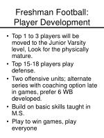 freshman football player development