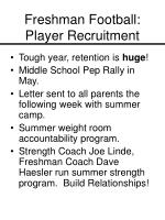 freshman football player recruitment