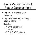 junior varsity football player development