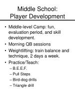 middle school player development