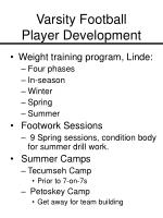 varsity football player development