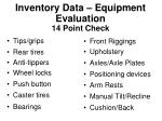 inventory data equipment evaluation 14 point check
