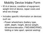 mobility device intake form