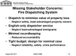 missing stakeholder concerns fire dispatching system