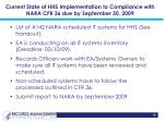 current state of hhs implementation to compliance with nara cfr 36 due by september 30 2009