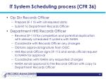 it system scheduling process cfr 36
