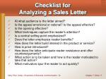 checklist for analyzing a sales letter