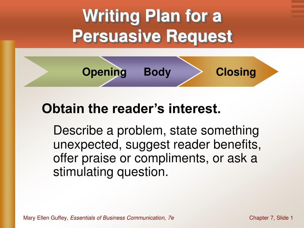 writing plan for a persuasive request l.
