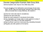 discrete categorization example math study skills