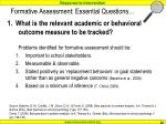 formative assessment essential questions