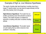 examples of high vs low inference hypotheses