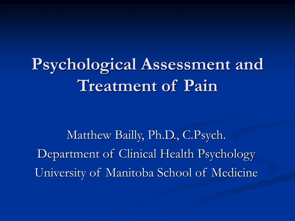 psychological assessment and treatment of pain l.