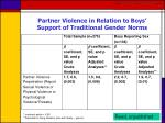 partner violence in relation to boys support of traditional gender norms
