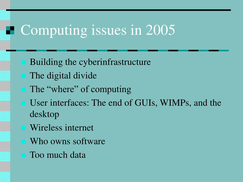 Computing issues in 2005
