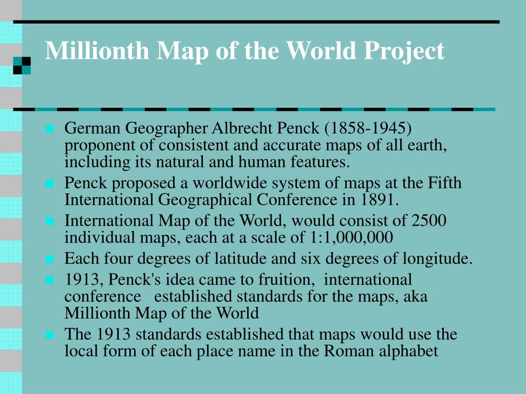 Millionth Map of the World Project