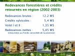 redevances foresti res et cr dits retourn s en r gion 2002 2003