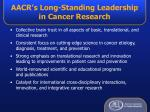 aacr s long standing leadership in cancer research