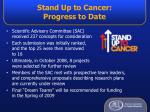 stand up to cancer progress to date