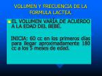 volumen y frecuencia de la formula lactea