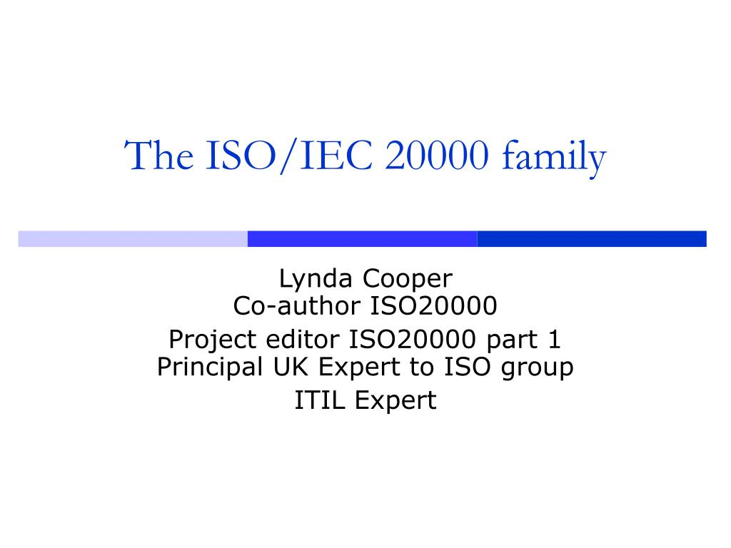 the iso iec 20000 family l.