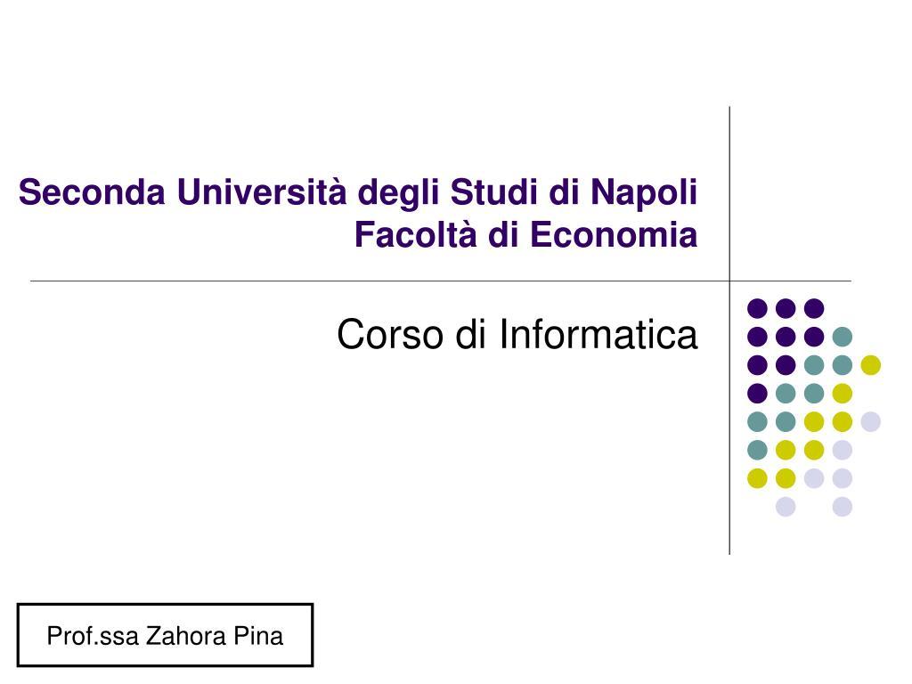 seconda universit degli studi di napoli facolt di economia l.