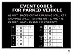 event codes for parked vehicle