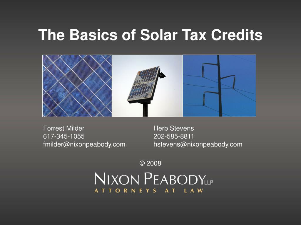 the basics of solar tax credits l.