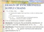 design of synchronized supply chains