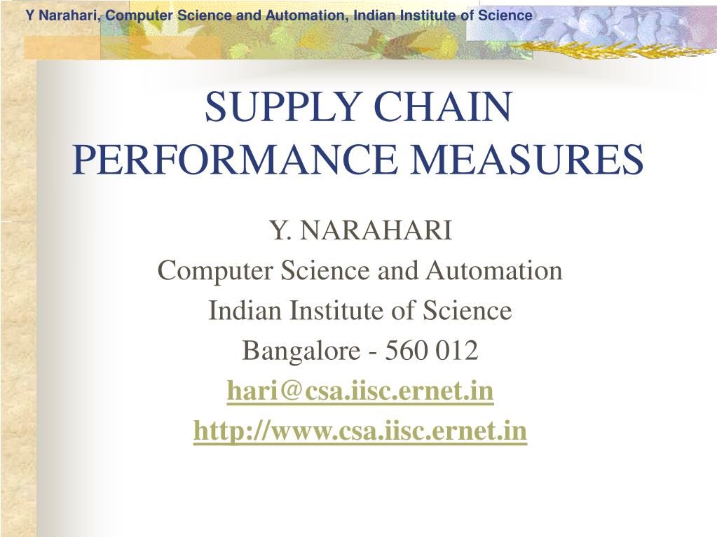 supply chain performance measures l.