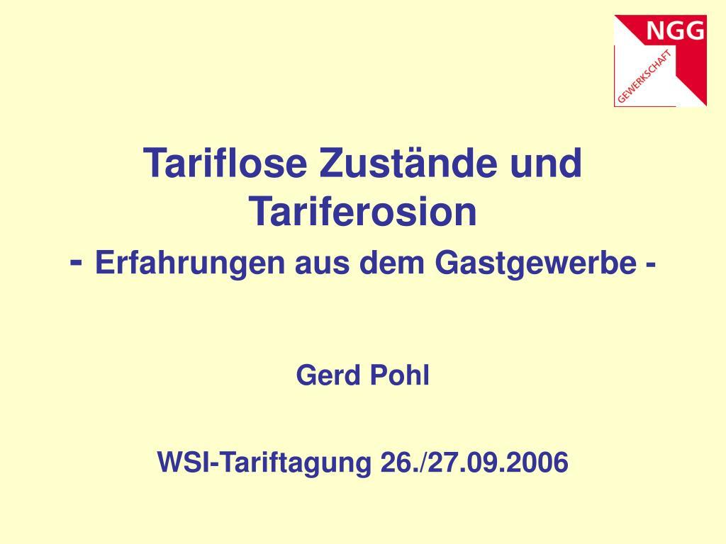tariflose zust nde und tariferosion erfahrungen aus dem gastgewerbe l.