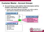 customer master account groups