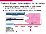 customer master selecting fields for data groups