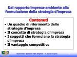 dal rapporto impresa ambiente alla formulazione della strategia d impresa