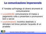 la comunicazione impersonale